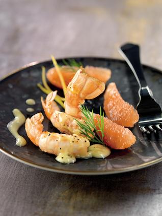 Recette de langoustines poêlées, salade de pamplemousse