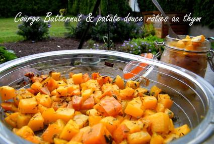 Recette de courge butternut et patate douce rôties au thym