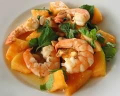 Recette salade thaï de crevettes et melon