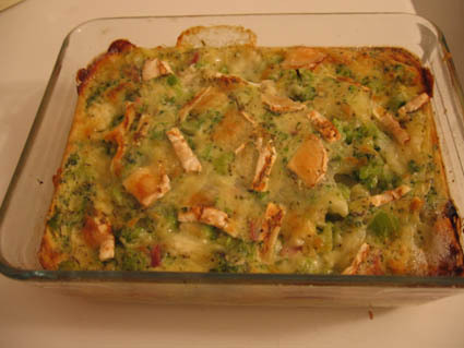 Recette de clafoutis brocolis, chèvre et jambon