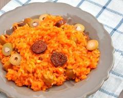 Recette risotto à la tomate, au chorizo et aux olives