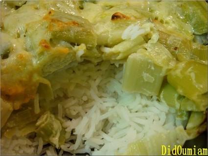 Recette de riz à la fondue de poireaux