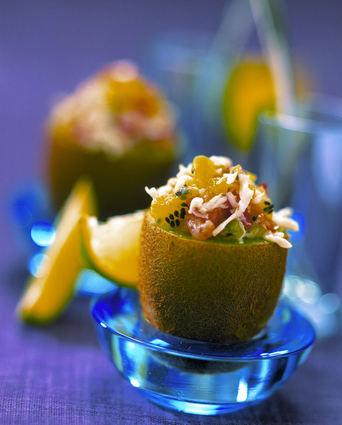 Recette de kiwis farcis au tartare de mer