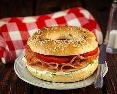 Recette bagel au jambon et fromage frais
