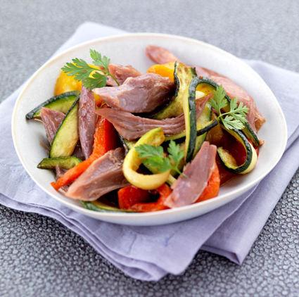 Recette de salade de confit de canard aux légumes grillés