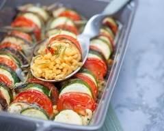 Recette tian de légumes sur son lit de coquillettes