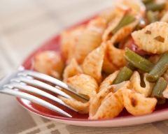 Recette pâtes aux haricots verts et à la sauce tomate