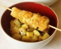 Recette brochettes de poulet au curry et poêlée de courgette et ...