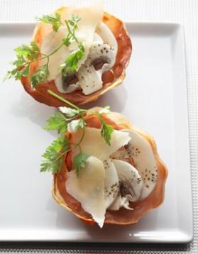 Tartelette croustillante au jambon cru pour 4 personnes