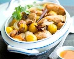 Recette tajine de poulet, mirabelles, noix de pécan et miel d'oranger