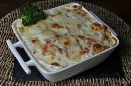 Recette de gratin de ravioles au saumon et courgettes