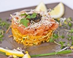 Recette carpaccio de légumes croquants et saumon fumé