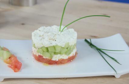 Recette de tartare tomate, concombre, feta