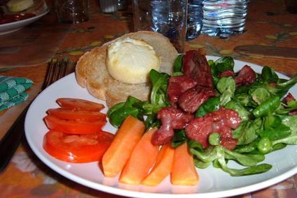 Recette de salade de chèvre chaud aux gésiers de canard