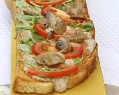 Recette bruschetta aux champignons, tomates et roquette