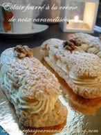 Recette eclairs fourrés à la crème de noix caramélisées