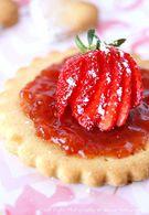 Recette de sablé à la confiture de fraise coeur grenadine