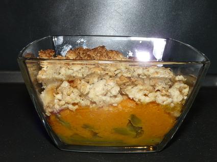Recette de crumble de butternut et haricots verts aux flocons