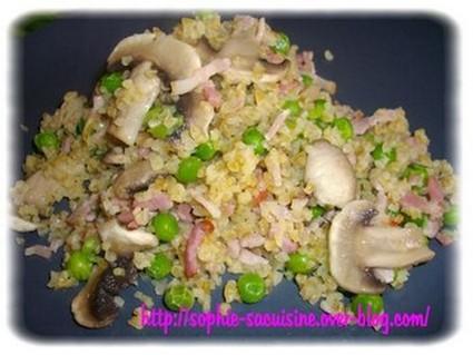 Recette de boulghour aux champignons, lardons et petits pois