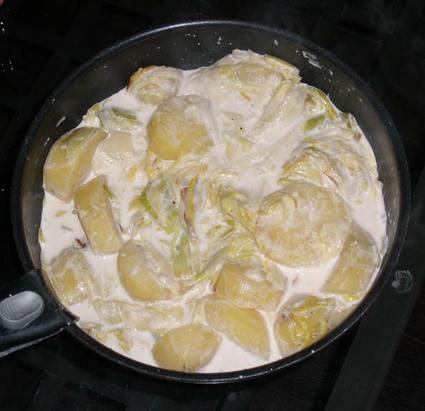 Recette de fondue de poireaux et pommes de terre