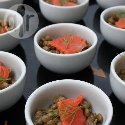 Recette verrines de lentilles au saumon fumé – toutes les recettes ...