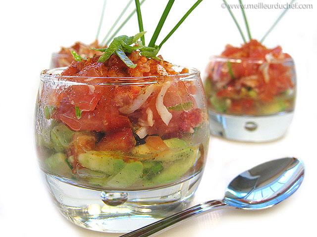 Avocat au crabe en verrine  la recette illustrée  meilleurduchef.com
