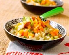 Recette risotto au poulet, légumes et champignons