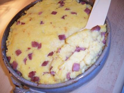 Recette de gratin de polenta au jambon