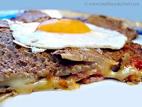 Crêpe de sarrasin farcie, œuf à cheval  fiche recette illustrée ...