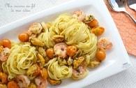 Recette de tagliatelle aux moules, crevettes et tomates cerise ...