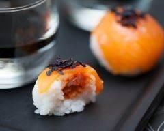 Recette sushi balls de truite fumée et coeur tomaté