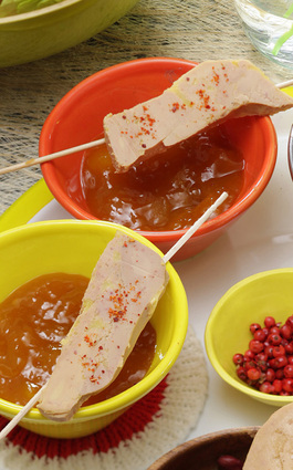 Recette de brochettes de foie gras et chutney de mangue