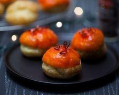 Recette petits choux pimentés à la crème d'aubergine et glaçage au ...