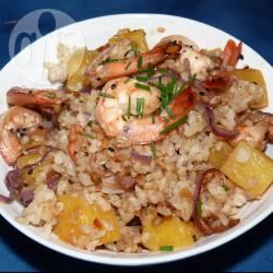 Recette riz aux crevettes, ananas et aux graines de sésame ...