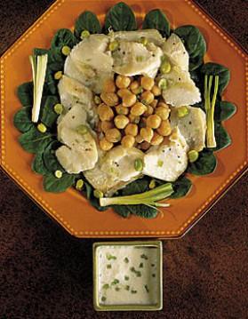 Morue en salade de pois chiches pour 4 personnes