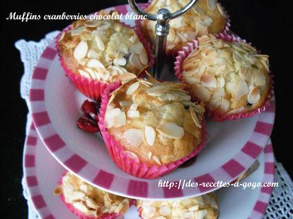 Recette de muffins aux cranberries et chocolat blanc