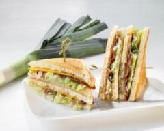 Recette club sandwich aux poireaux et canard fumé