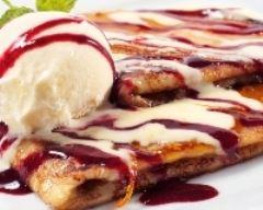 Recette crêpes de châtaigne à la vanille et au coulis de framboises