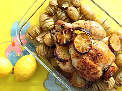 Recette de poulet rôti aux citrons et au thym