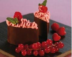 Recette larme de chocolat croquante, mousseline de framboise