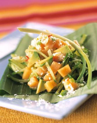 Recette de salade épicée au melon philbon et crème de coco
