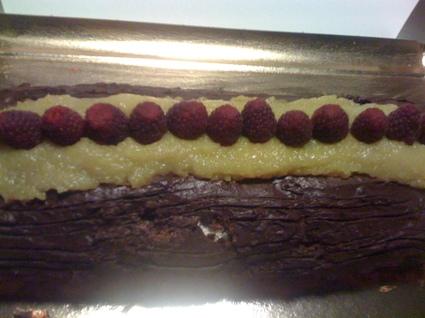 Recette de bûche chocolat, mangue et framboise