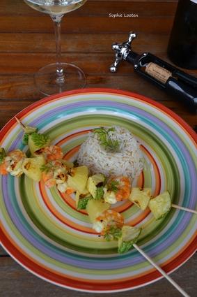 Recette de brochettes de crevettes et ananas
