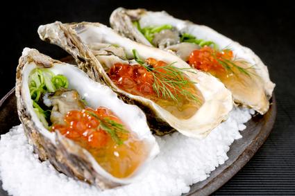 Recette de huîtres aux algues et œufs de truite