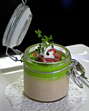 Recette de royale de foie gras et son cappuccino de petits pois
