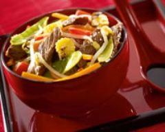 Recette boeuf et légumes sautés au soja
