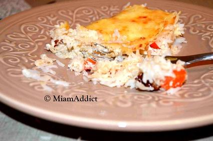 Recette de gratin de riz tomates séchées crème de parmesan