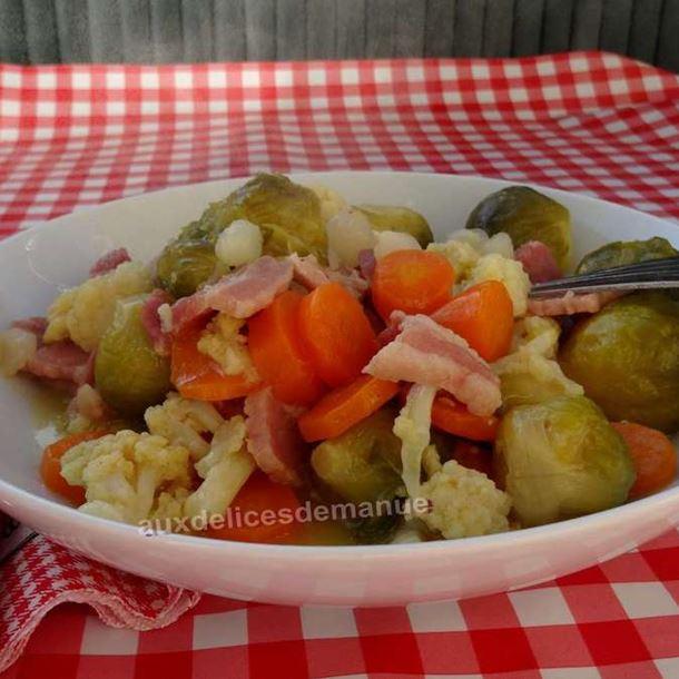 Recette duo de choux et carottes au lard fumé et oignons vinaigrette ...