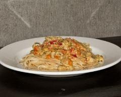 Recette spaghetti au porc, lait de coco, curry et légumes