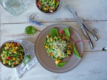 Recette de salade de printemps aux petits pois et haricots verts
